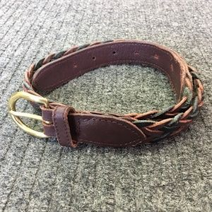 "Accessories - 28"" Woven Leather Belt with Brass Buckle"